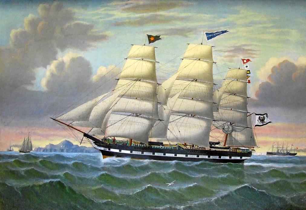 AB verfügte für den Transport der Rohtabake eigene Schiffe - hier ein Vollschiff